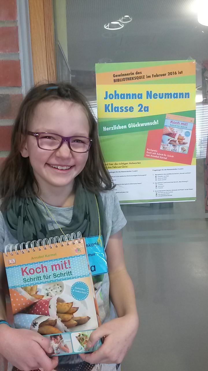 Gewinnerin Büchereiquiz Februar 2016